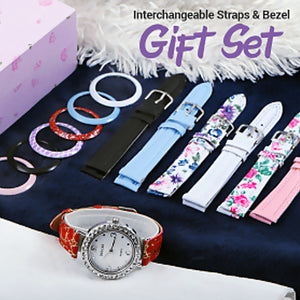 Dial Multi-design Interchangeable Straps & Bezel Gift Set For Women