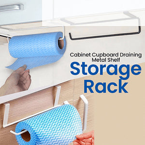 Kitchen Towel Holder Storage Rack Cabinet Draining Metal Shelf