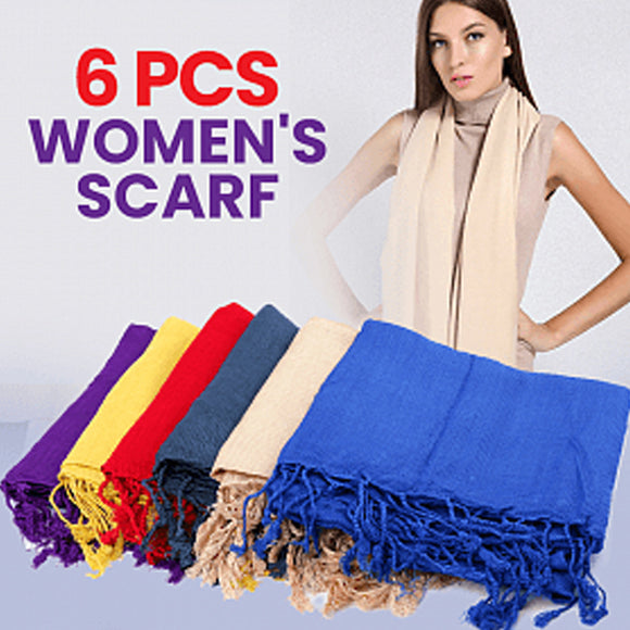 Fashionable Women's Pashmina Scarf 6 Pcs Set, Assorted Color