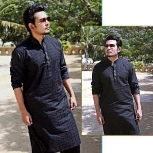 Embroidered Chicken Fabric Stitched Shalwar Kameez For Men (Black)