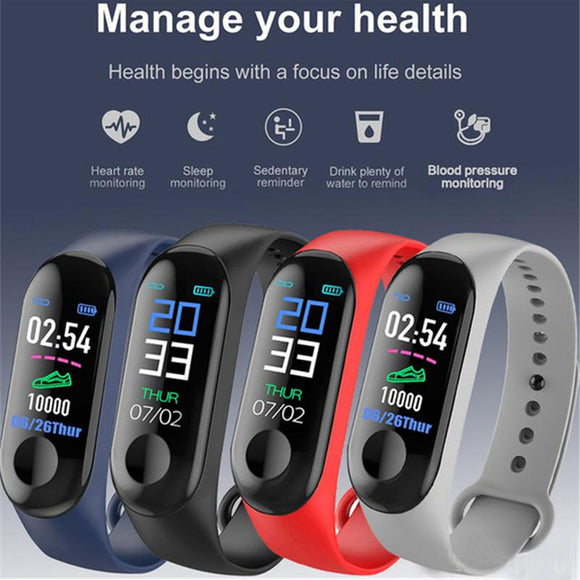 M3 Smart Sports Bracelet Fitness Band with Heart Rate Monitor Bluetooth Waterproof Pedometer For Android & iOS, Black