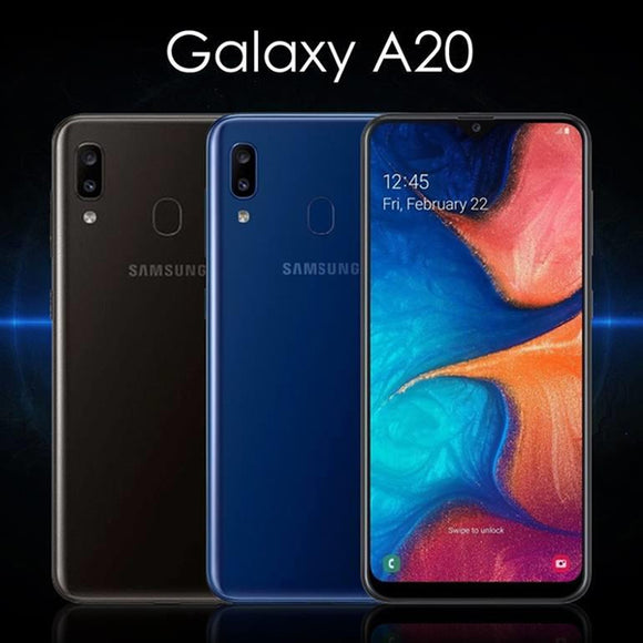 Samsung Galaxy A20 Mobile Phone - Display 6.4 - Camera 13+5MP Selfi 8MP - ROM 32GB - RAM 3GB - Face unlock - Finger Print Sensor (0120)