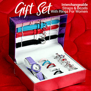 Stylish Gift Set With 16Pcs Interchangeable Straps & Bezels With Rings For Women