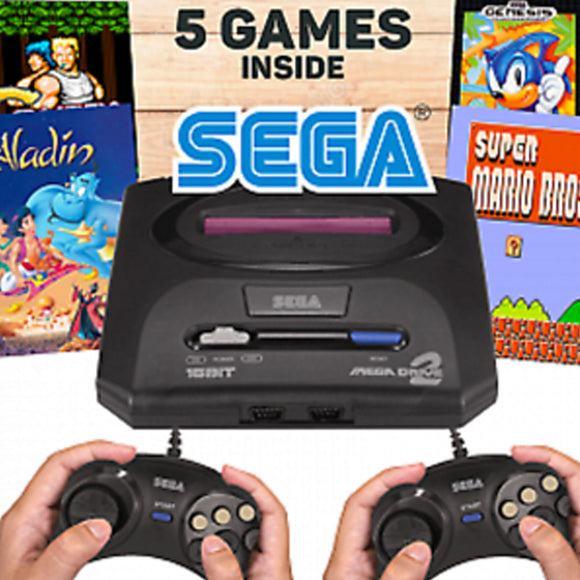 Sega Mega Drive 2 Video Game with Console 16 Bit Retro Handheld Game Player 5 Games Inside