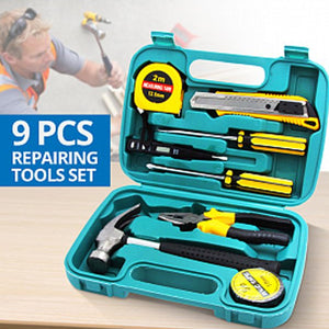9Pcs Home Repairing Tool Set Kit Multi-functional Universal Precision Screwdriver Hammer Set Hardware Tool Kit Household Hand Tool Kit with Plastic Toolbox Storage Case (054)