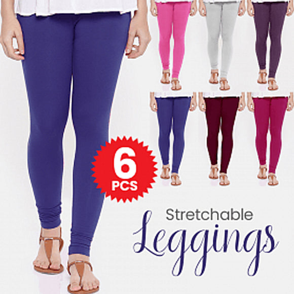 Womens Soft Stretchable Leggings 6 Pcs, Free Size Multi Colors