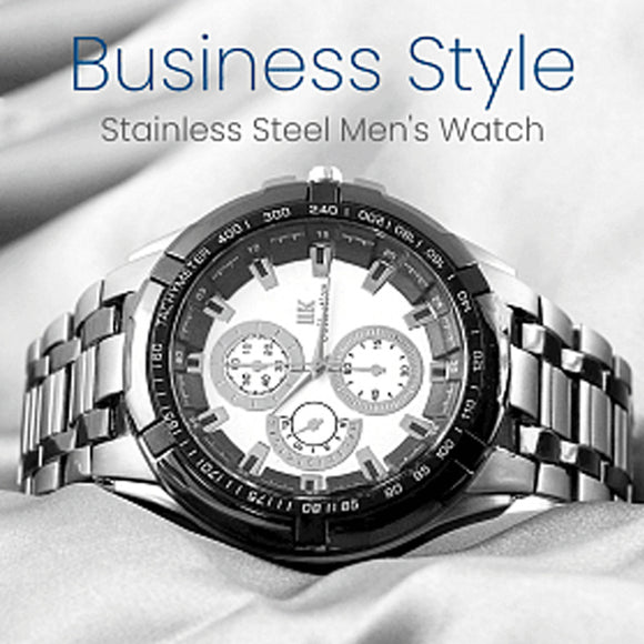 IIK Collection Stainless Steel Men's Watch, Business Style , Black White