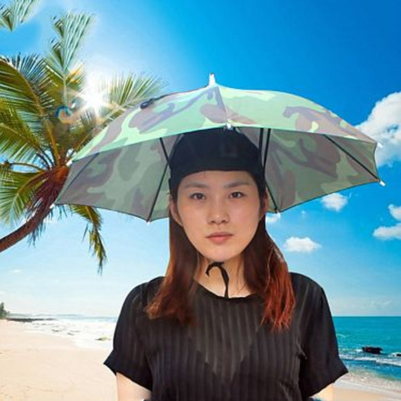 Portable 69cm Umbrella Hat Cap Folding Hands free Umbrella