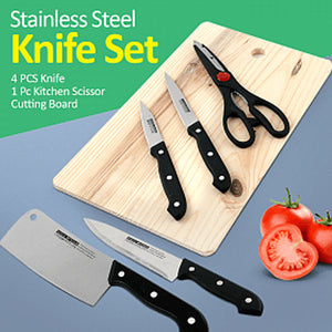 GFT 4 Pcs Stainless Steel Knife & 1 Pc Kitchen Scissor With Cutting Board (1024)