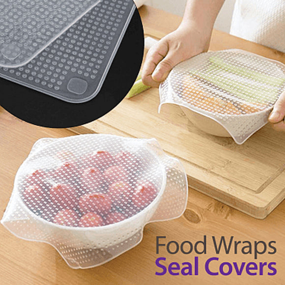 Stretch And Fresh 4 Pcs Re-Usable Silicon Food Wraps Kitchen Accessories Tools