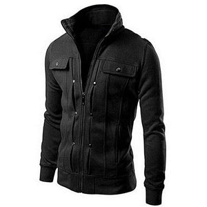 Black Mexican Fleece Jacket For Men With Front Pocket