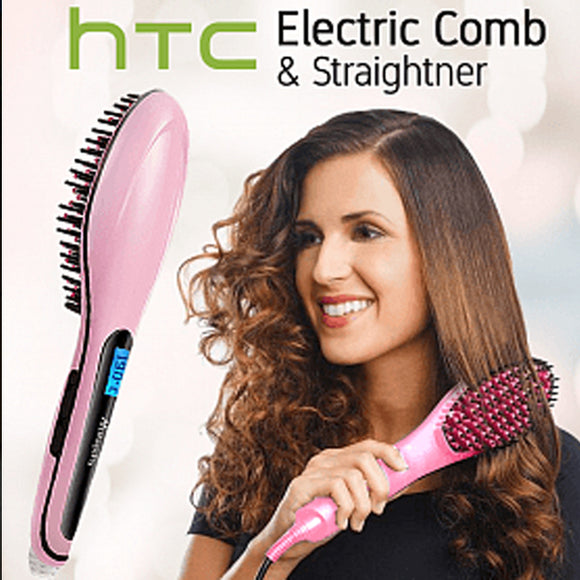HTC Electric Comb Hair Straightening Irons,Instant Magic Silky Straight Hair Styling, Anion Hair Care, Anti Scald, Zero Damage, HTC-7000