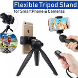Mini Flexible Tripod Stand With Phone Holder Clip & Ball Head For Phone Digital DSLR Camera & Smartphone (1018)