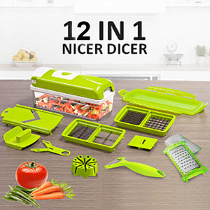 12 Pcs Nicer Dicer - Fruit & Vegetable Cutter (029)