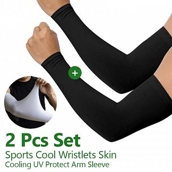 Cool Wristlets Skin Cooling UV Protect Arm Sleeve 2 Pcs Set