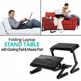 Portable Multifunctional Folding Laptop Stand Table with Cooling Pad & Mouse Pad, T8