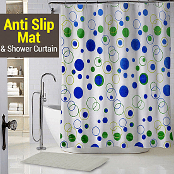 Winds Anti Slip Mat Shower & Shower Curtain 2 Pcs Set