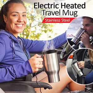 Portable Stainless Steel 12 Volt Car Travel Water & Coffee Maker Mug With Handle (1127)