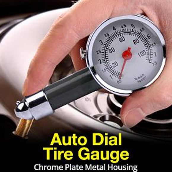Auto Dial Tire Gauge With Chrome Plate Metal House