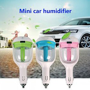 AX 12V Car Plug Air Humidifier With 1 USB Port Charger, Capacity 50ML, Spray 25mlHr For Fresh & Clean Environment, AXHM01