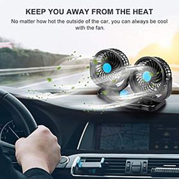 SOGO 360 Degree Dual Rotatable Car Electric Fans (0039)