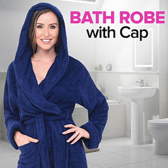 Royal Delux Unisex Free Size Bathrobe With Cap, Assorted Color