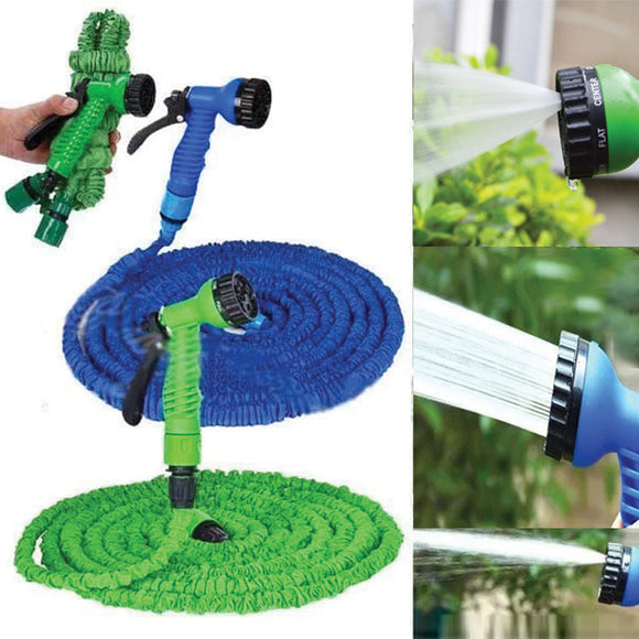 75FT Ultralight Flexible 3X Expandable Garden Magic Water Hose Pipe + Faucet Connector + Fast Connector + Multifunctional Spray