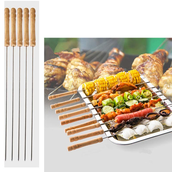 6 Pcs BBQ Wooden Handle Rods