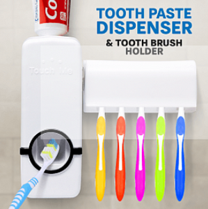 Toothpaste Dispenser And Toothbrush Holder