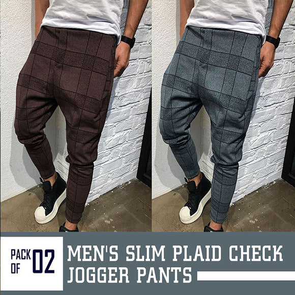 Vintage checkered casual tube pants for men, side striped stripe pants for men
