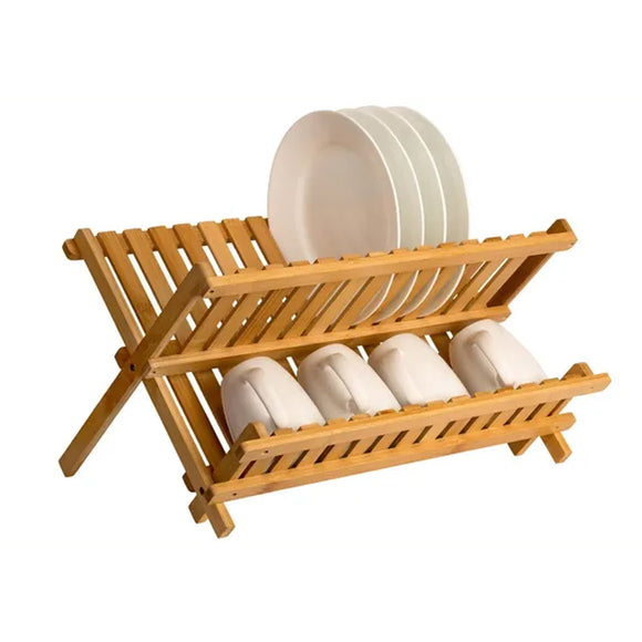 Sagler Wooden Dish Rack Plate Rack Collapsible Compact Dish Drying Rack Bamboo Dish drainer.