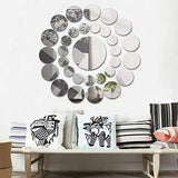 Clearance! Leyorie Elegant Applique Round Mirror Wall Sticker Acrylic Surface Decal Home DIY Art Mural Decor 31 pcs