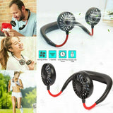 Portable USB Rechargeable Neckband Neck Hanging Dual Cooling Mini Cooler Fan