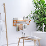 Wall Mounted Towel Rack with Shelf Storage for Bath & Household Items