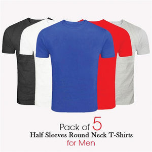 Pack of 5 - Short Sleeve Round Neck Cotton T-shirts for Men in Solid