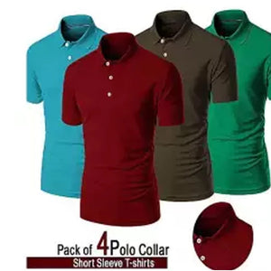 Pack of 4 Plain Polo Collar T-Shirt