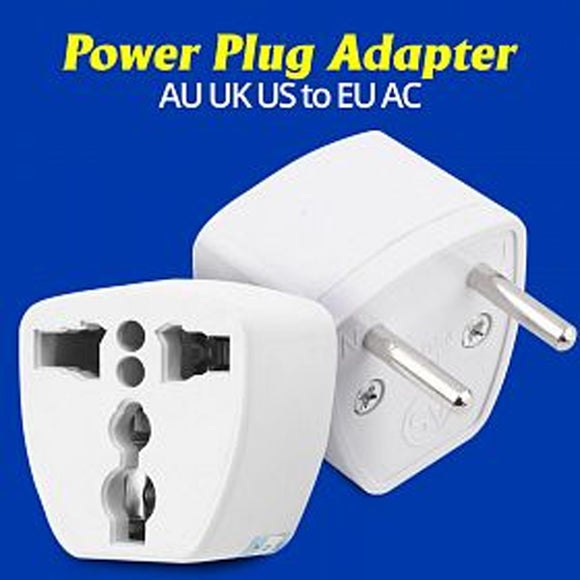 AU UK US to EU AC Power Plug Adapter Converter Outlet Home Travel Wall, White