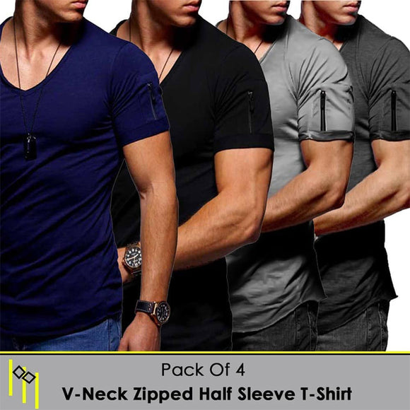 Pack of 4 V neck Zip Half Sleeve T Shirt
