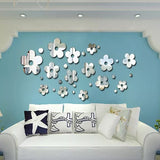 3d flower living rooom mirror decorative wall sticker