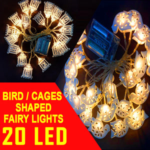 Little Bird and Cages Shaped Random Design 20 LED String Fairy Light