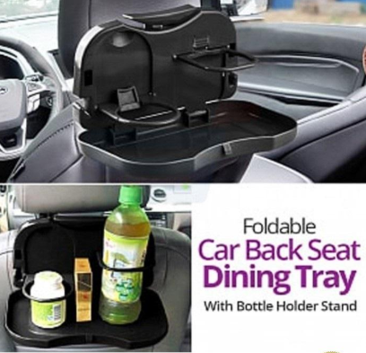 Foldable Travel Dining Tray, Rack and Bottle Holder for Car (038)