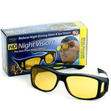 Pack of 2 HD Night Vision & Day Glasses - Black & Yellow