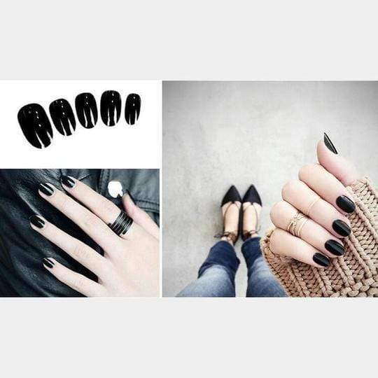 Rapture Unlimited BLACK Acrylic Press On Nail Set (24 PCS)
