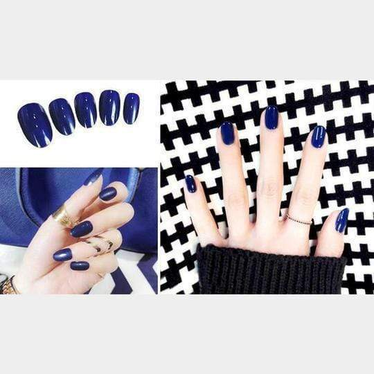 Rapture Unlimited BLUE Acrylic Press On Nail Set (24 PCS)