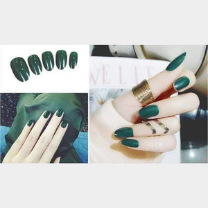 Rapture Unlimited GREEN Acrylic Press On Nail Set (24 PCS)