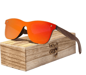 Rapture Unlimited Red Aura™ Eco-friendly Sunglasses - Walnut Wood, UV Polarised, Rimless