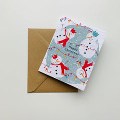 Handcrafted & Plantable Carrot Seed Card – Snowmen Happy Christmas