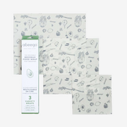 Abeego Organic Beeswax Wraps – 3 Pack Small, Medium, Large