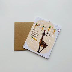 Handcrafted & Plantable Carrot Seed Card – Merry Christmas Rudolph!
