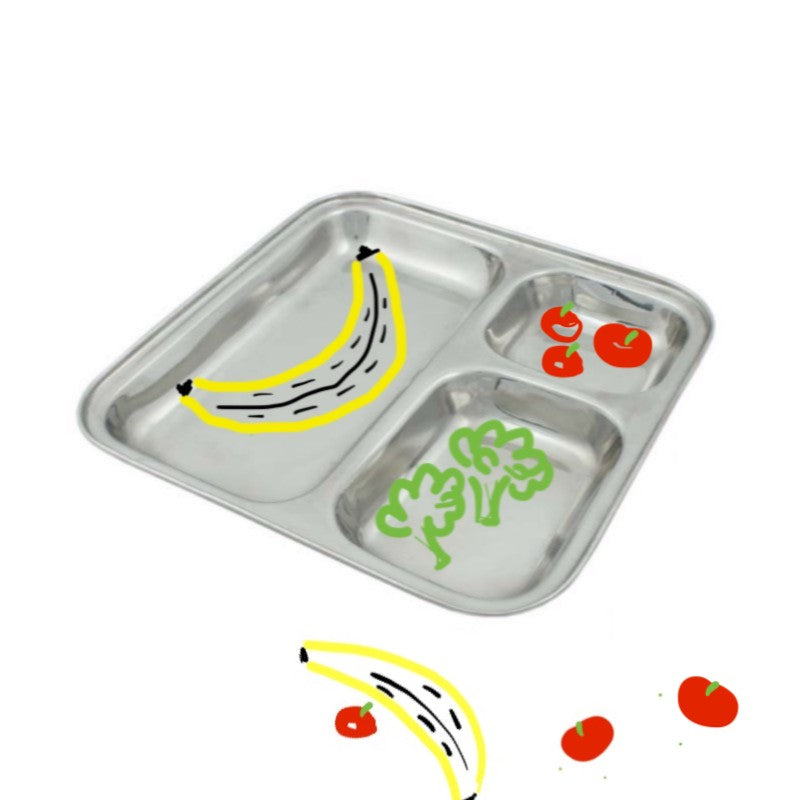 Square Stainless Steel Divided Plate for Kids